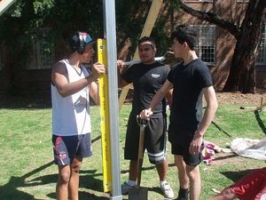 Building soccer goal post